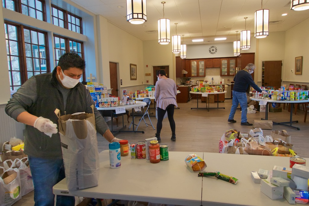 Volunteers working at the food pantry